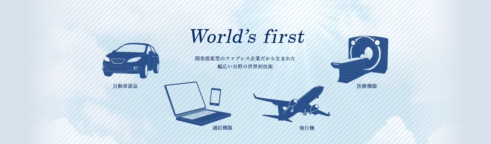 Woorld's first 開発提案型のファブレス企業だから生まれた幅広い分野の世界新技術